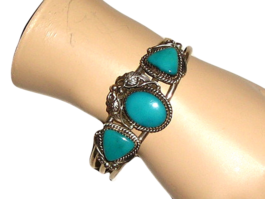 Antique ART NOUVEAU Genuine Persian Turquoise Floral Sterling ...