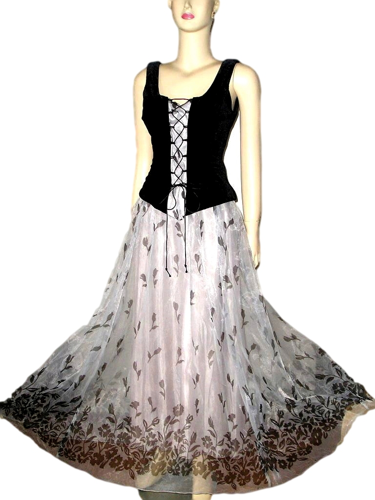 f365d3f8a9a Spectacular 80s Silver Organza Floral and Black Velvet Lace-up ...