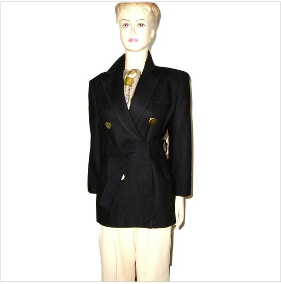 9a1bc5a95e7 Vintage CHEMINEAU Paris Black Wool Belted Double Breasted Jacket Peacoat  Pea Coat 4/6