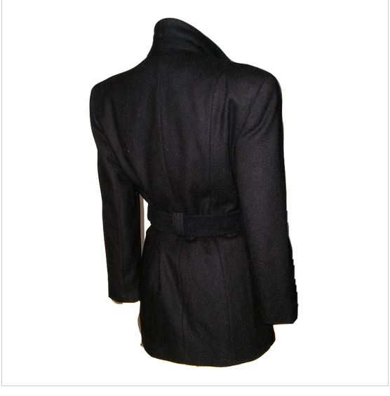 24a549007eb Timeless classic and very elegant vintage black new wool belted jacket