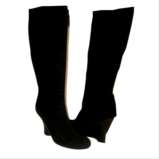 8fa2ad4a963 Vintage LIPSTICK Black Suede Leather Curved Wedge Knee High Boots 40 9