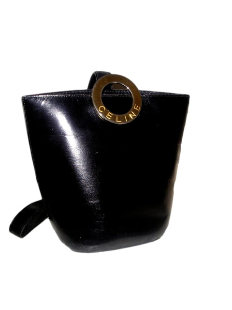 ff2d0b0f6d8c10 Vintage CELINE Paris Black Leather Bucket Purse, Sling Shoulder Strap,  Serial Number